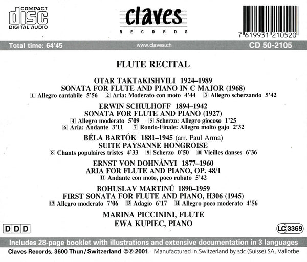 (2001) Flute Recital: Eastern Europe 20th Century Music / CD 2105 - Claves Records