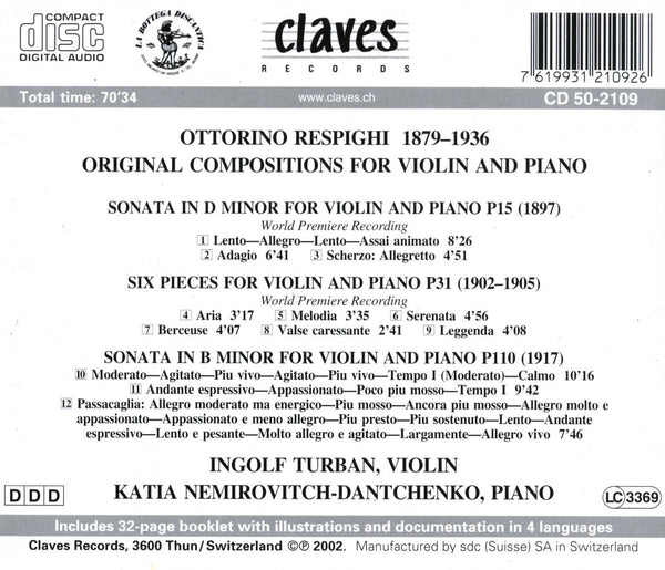(2002) Respighi: Original Pieces for Violin & Piano - CD 2109 - Claves Records