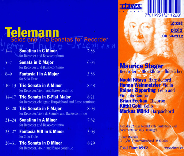 (2001) Telemann: Solos & Trio Sonatas for Recorder - CD 2112 - Claves Records