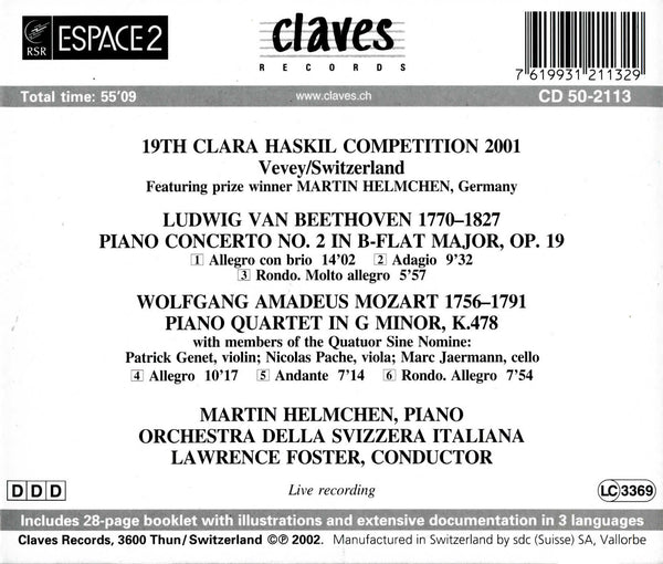 (2002) XIXth Clara Haskil Competition 2001 (Live Recording) - CD 2113 - Claves Records