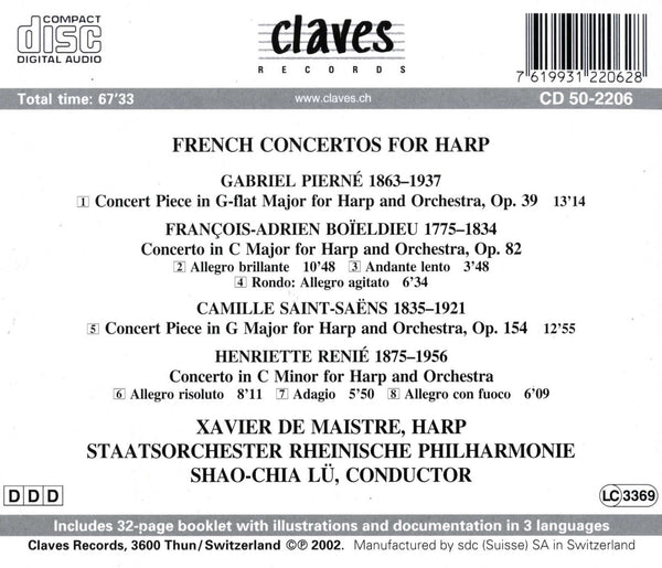(2002) Romantic French Concertos & Pieces for Harp & Orchestra / CD 2206 - Claves Records