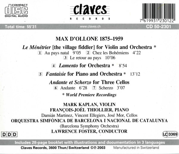 (2003) d'Ollone: Orchestral Music - CD 2301 - Claves Records