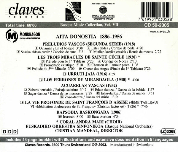 (2003) Basque Music Collection, Vol. VII: Aita Donostia - CD 2305 - Claves Records