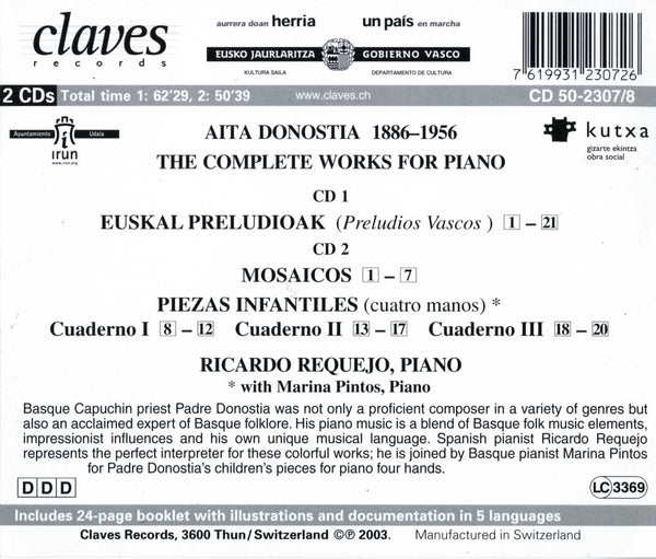 (2003) Donostia: The Complete Works For Piano - CD 2307-8 - Claves Records