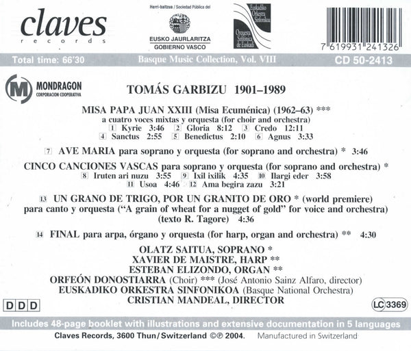 (2004) Basque Music Collection, Vol. VIII: Tomás Garbizu / CD 2413 - Claves Records