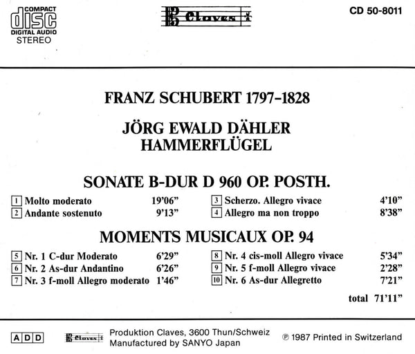 (1987) Schubert: Sonata D 960, Moments Musicaux Op 94 - CD 8011 - Claves Records
