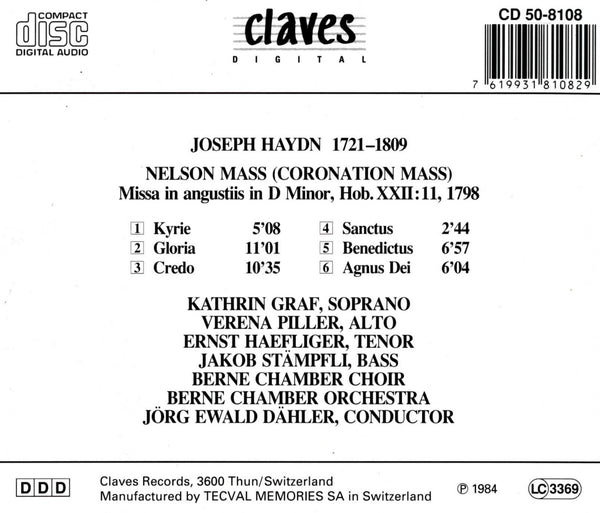 (1984) Joseph Haydn: Nelson Mass (Coronation Mass) / CD 8108 - Claves Records