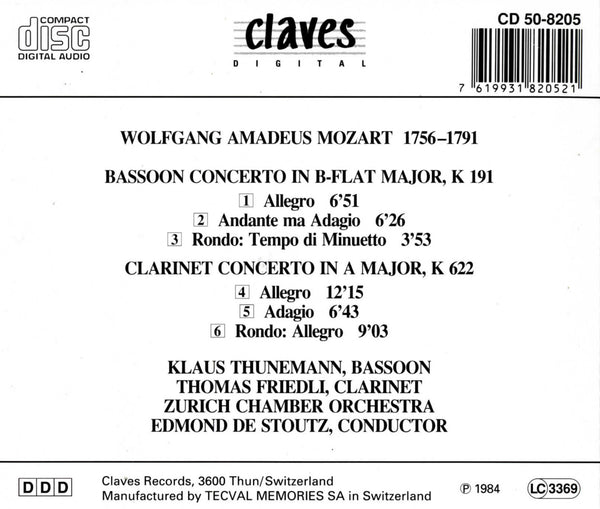 (1984) Mozart: Bassoon & Clarinet Concertos - CD 8205 - Claves Records