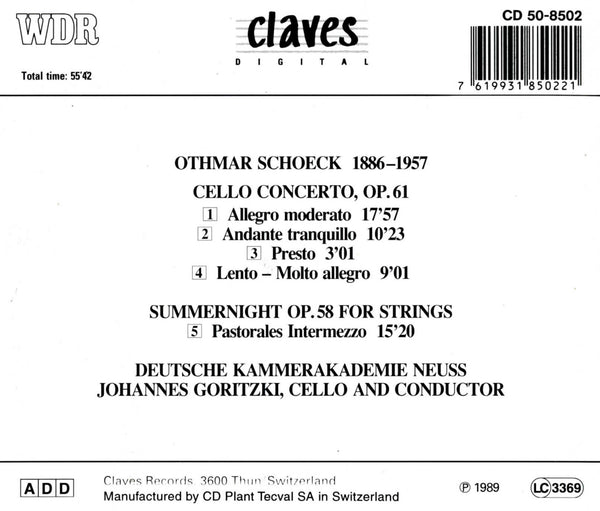 (1989) Schoeck: Cello Concerto, Op. 61 - Sommernacht, Op. 58 for Strings / CD 8502 - Claves Records