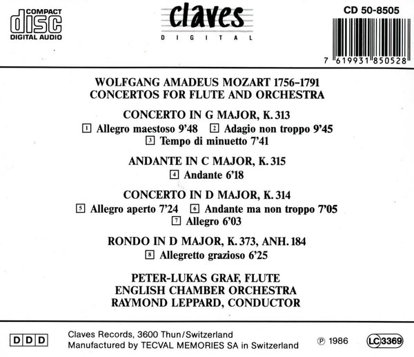 (1986) Mozart: Flute Concertos & Pieces / CD 8505 - Claves Records