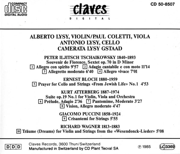 (1985) Tchaikovsky, Bloch, K. Atterberg, Puccini & Wagner: Music for Strings / CD 8507 - Claves Records