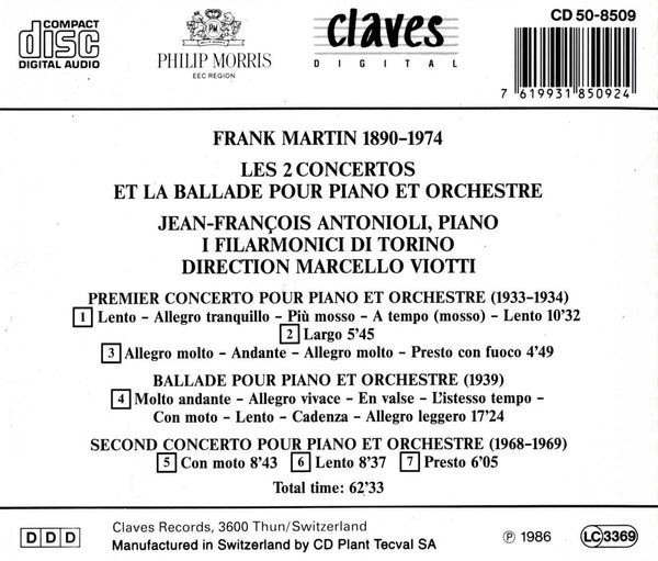 (1986) Martin: Complete Works for Piano & Orchestra / CD 8509 - Claves Records