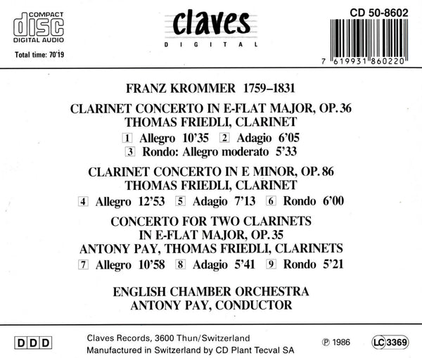 (1986) Krommer: Clarinet Concertos - CD 8602 - Claves Records