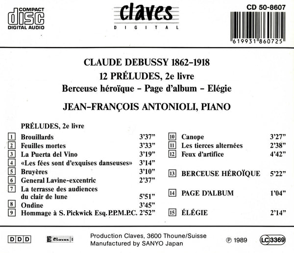 (1989) Claude Debussy/ 12 Preludes / CD 8607 - Claves Records