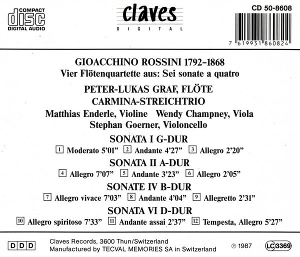 (1987) Rossini/ Flötenquartette - CD 8608 - Claves Records