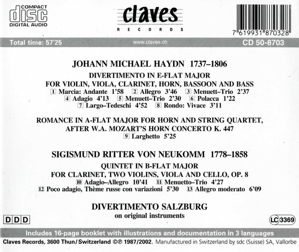 (1987) Divertimento Salzburg / Michael Haydn / von Neukomm - CD 8703 - Claves Records