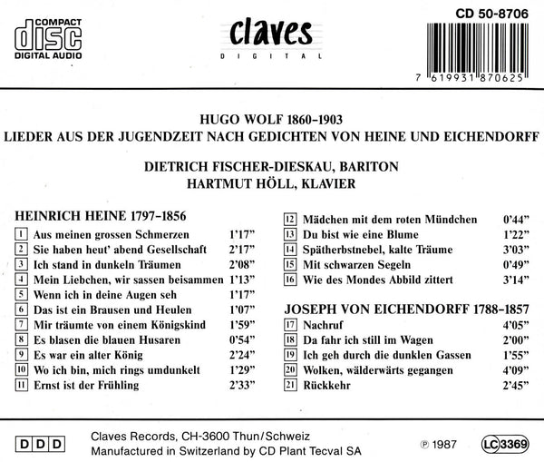 (1987) Hugo Wolf: Frühe Lieder / CD 8706 - Claves Records