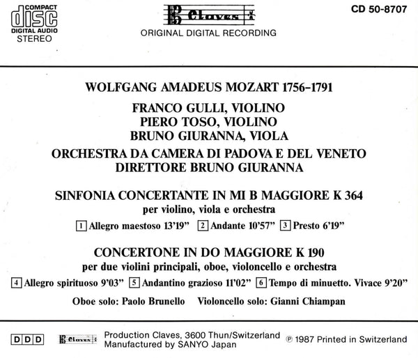 (1991) Mozart/Sinfonia Concertante/Concertone - CD 8707 - Claves Records
