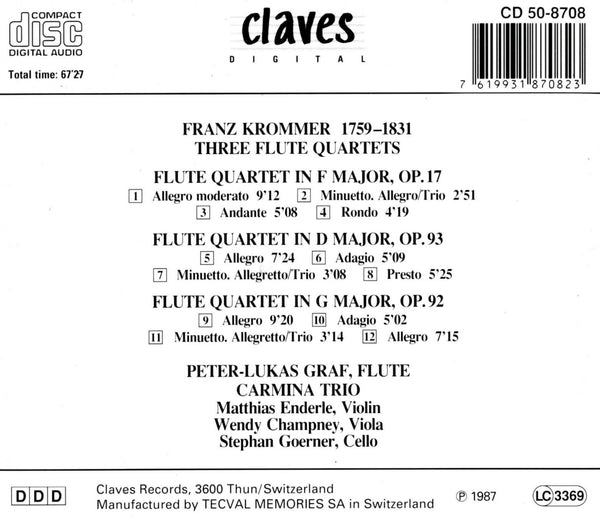 (1987) Franz Krommer: Three Flute Quartets / CD 8708 - Claves Records