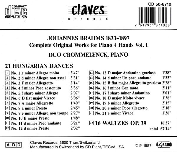 (1987) Complete Original Works for Piano 4 Hands Vol.1 / CD 8710 - Claves Records