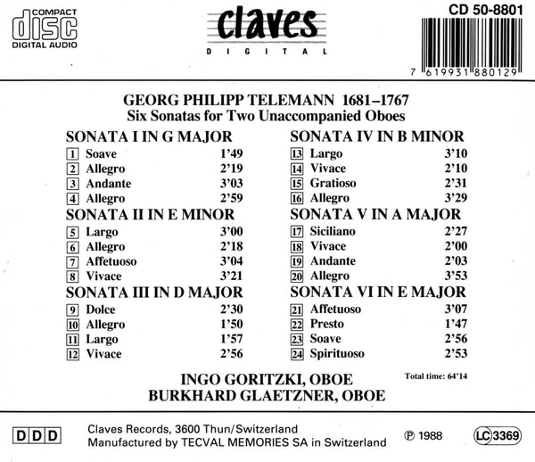 (1988) Telemann/ Six Sonatas For Two Oboes / CD 8801 - Claves Records