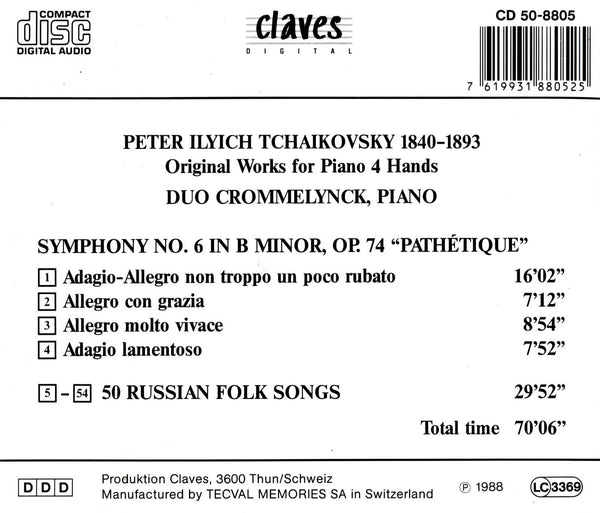 (1988) Tchaikovsky: Original Works for Piano 4 hands - CD 8805 - Claves Records