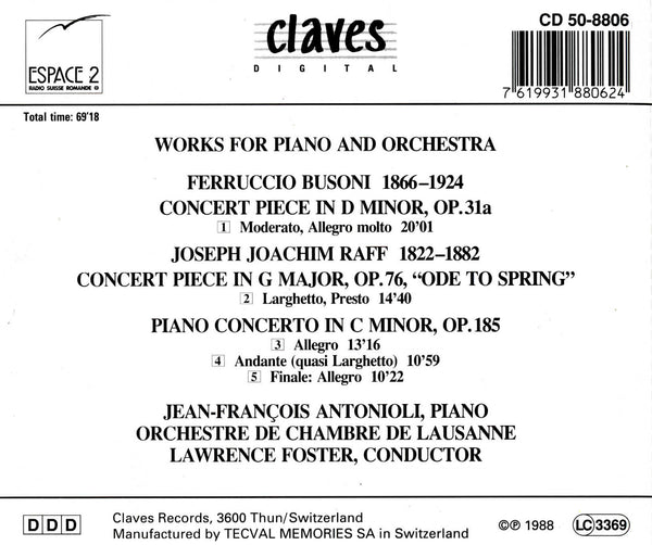 (1988) Busoni & Raff: Piano Concertos / CD 8806 - Claves Records