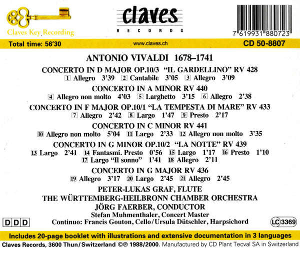 (1988) Vivaldi: Six Flute Concertos - CD 8807 - Claves Records