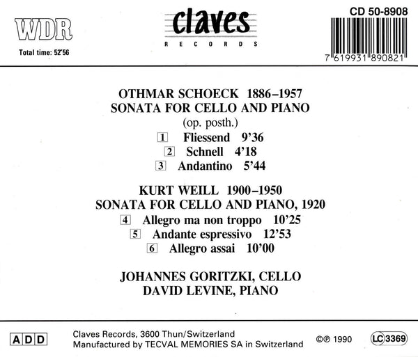 (1990) Late Romantic Cello Sonatas - CD 8908 - Claves Records