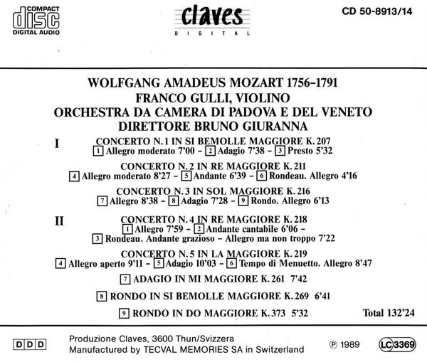 (1989) W.A. Mozart : The 5 Violin Concertos - Adagio K. 261 - Rondo K. 269 - Rondo K. 373 - CD 8913-14 - Claves Records