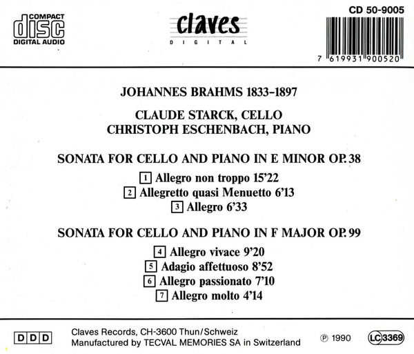 (1990) Brahms: The Sonatas for Cello & Piano Op. 38 & Op. 99 - CD 9005 - Claves Records