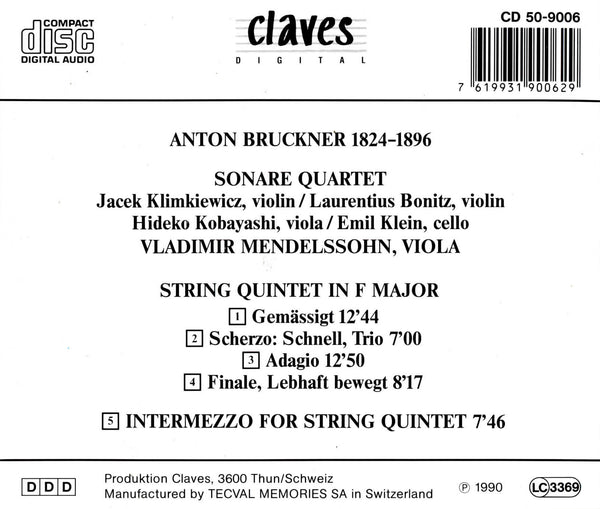 (1990) Bruckner: String Quintet - CD 9006 - Claves Records