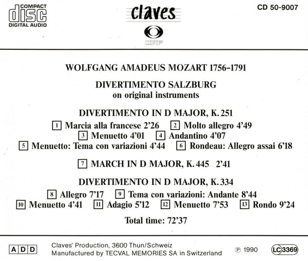 (1990) Mozart: Divertimenti K. 251 / CD 9007 - Claves Records