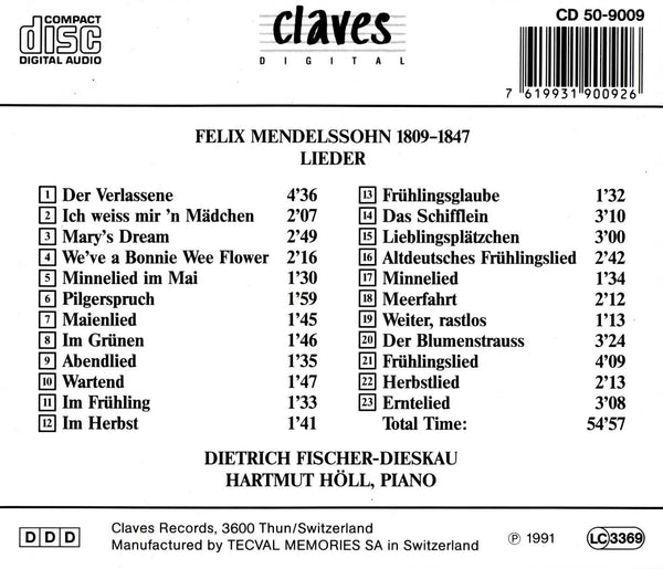 (1991) Mendelssohn: Lieder / CD 9009 - Claves Records