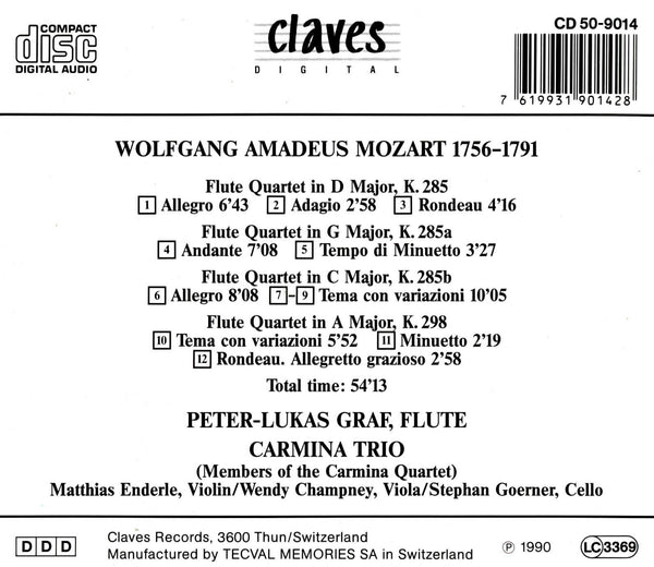 (1991) W. A. Mozart : The Four Flute Quartets / CD 9014 - Claves Records