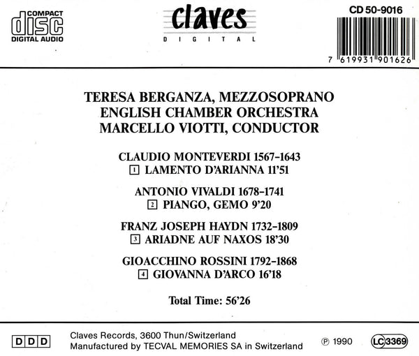 (1990) Solo Cantatas for Mezzo Soprano - CD 9016 - Claves Records