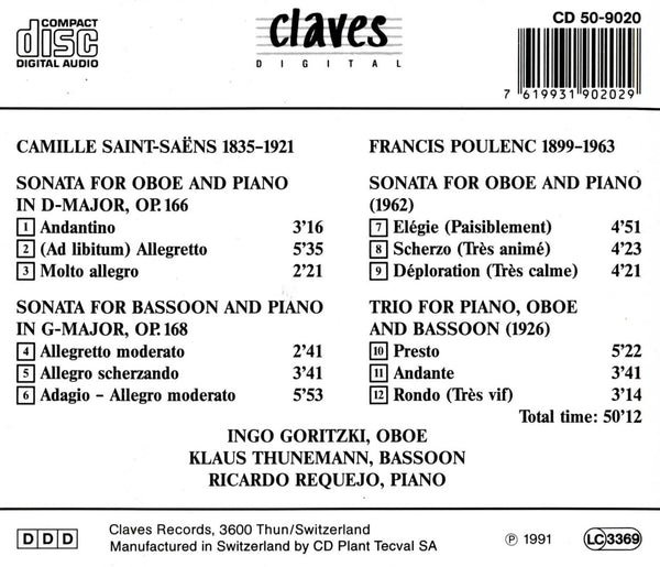(1991) French Music for Oboe & Bassoon / CD 9020 - Claves Records