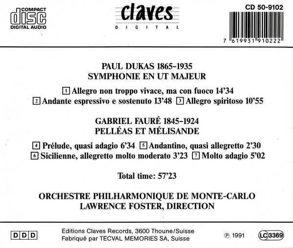 (1997) Dukas: Symphony in C Major - Fauré: Pelléas et Mélisande - CD 9102 - Claves Records