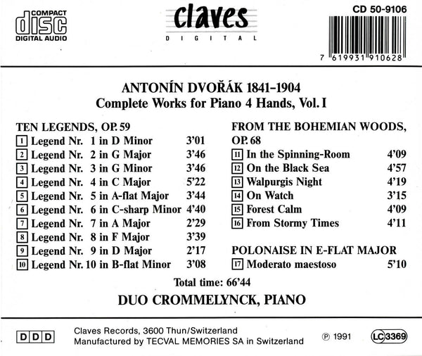 (1991) Dvorak: Complete Works for Piano 4 Hands, Vol. I - CD 9106 - Claves Records
