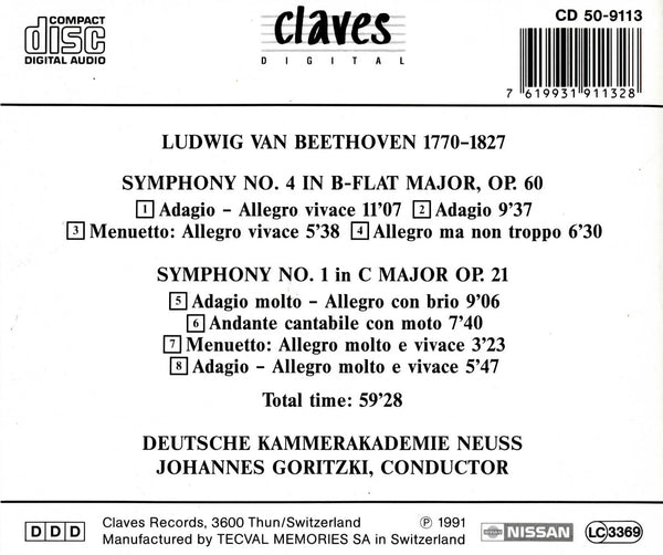 (1991) Beethoven: Symphonies No. 4 & No. 1 / CD 9113 - Claves Records