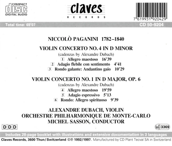 (1992) Niccolò Paganini: Violin Concertos Nos. 1, 4 - CD 9204 - Claves Records