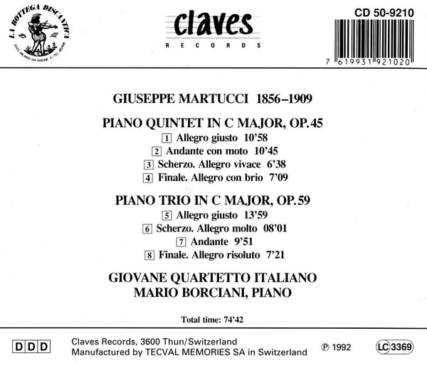 (1992) Martucci: Chamber Music for Piano & Strings - CD 9210 - Claves Records