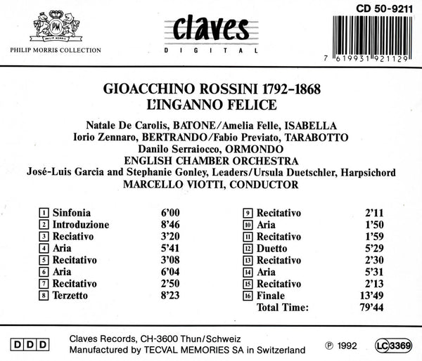(1992) Gioacchino Rossini: L'Inganno Felice / CD 9211 - Claves Records