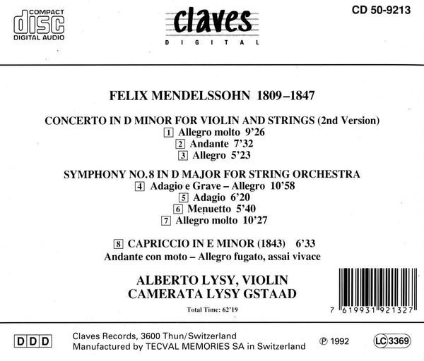 (1992) Mendelssohn: Concerto in D Minor & Orchestral Works / CD 9213 - Claves Records