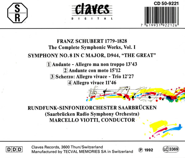 (1992) Schubert: The Complete Symphonic Works, Vol. I - CD 9221 - Claves Records