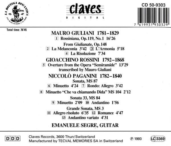 (1993) Romantic Italian Pieces for Guitar - CD 9303 - Claves Records