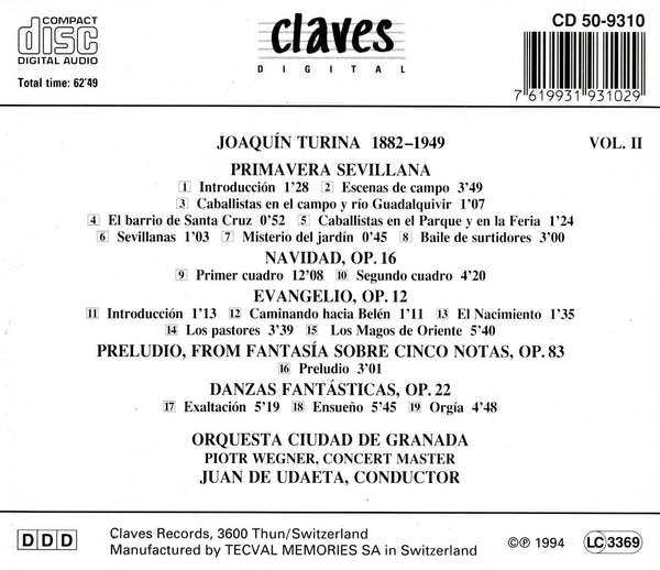 (1994) Joaquín Turina Vol. II - CD 9310 - Claves Records
