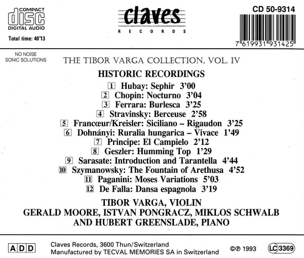 (1993) The Tibor Varga Collection, Vol. IV - CD 9314 - Claves Records