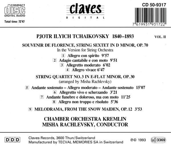 (1993) Tchaikovsky: Works for String Orchestra, Vol. 2 - CD 9317 - Claves Records