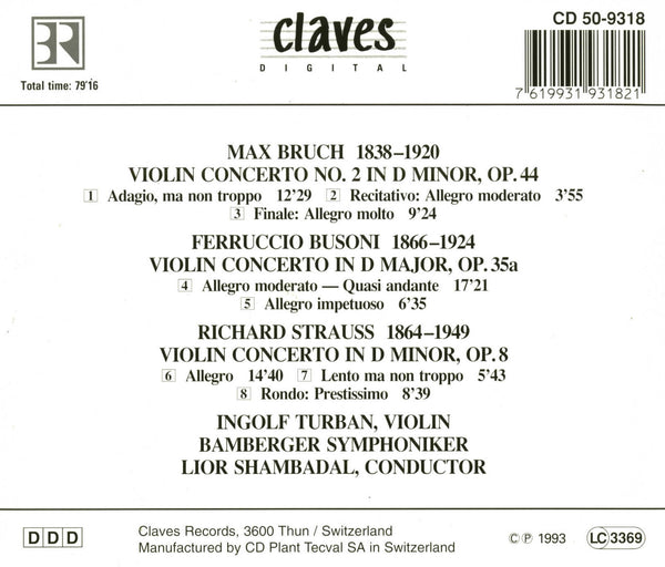 (1993) Rare Romantic Violin Concertos / CD 9318 - Claves Records